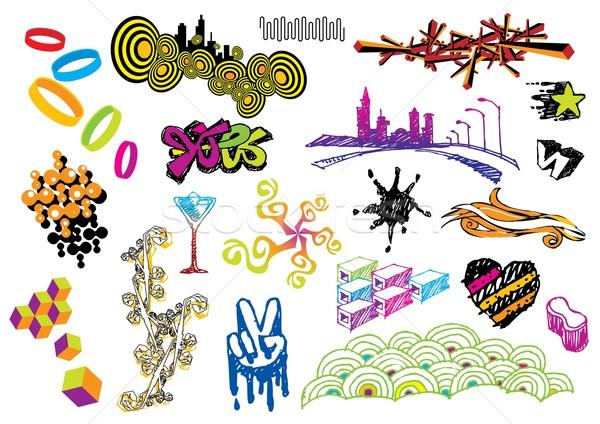 Vector graphics objecten ingesteld afbeelding mijn Stockfoto © UltraPop
