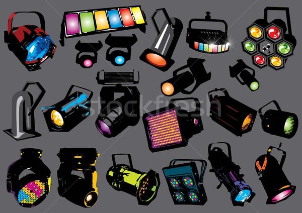 Spot ışıklar vektör ışık ayarlamak görüntü Stok fotoğraf © UltraPop