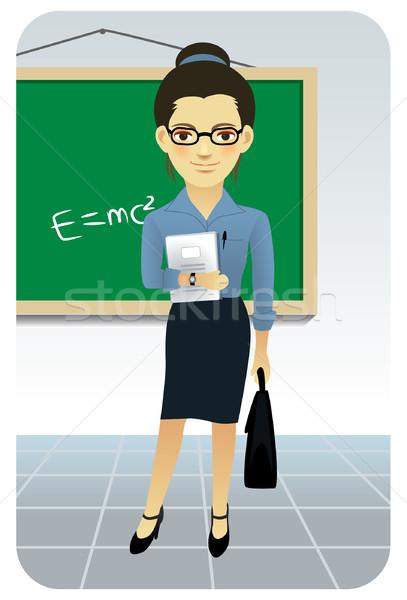 öğretmen öğretim tahta sınıf iş kadın Stok fotoğraf © UltraPop