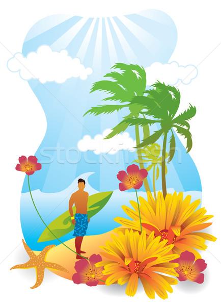Verão praia moço prancha de surfe árvore Foto stock © UltraPop