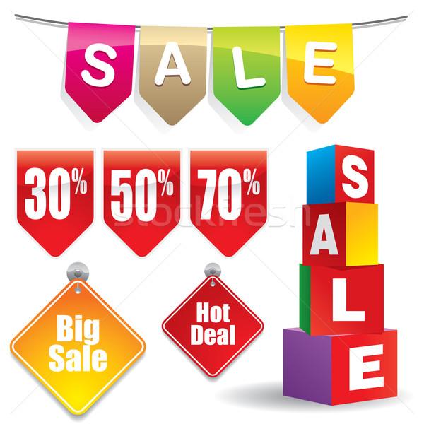 Sprzedaży sprzedaży zniżka banner znaki projektu Zdjęcia stock © UltraPop