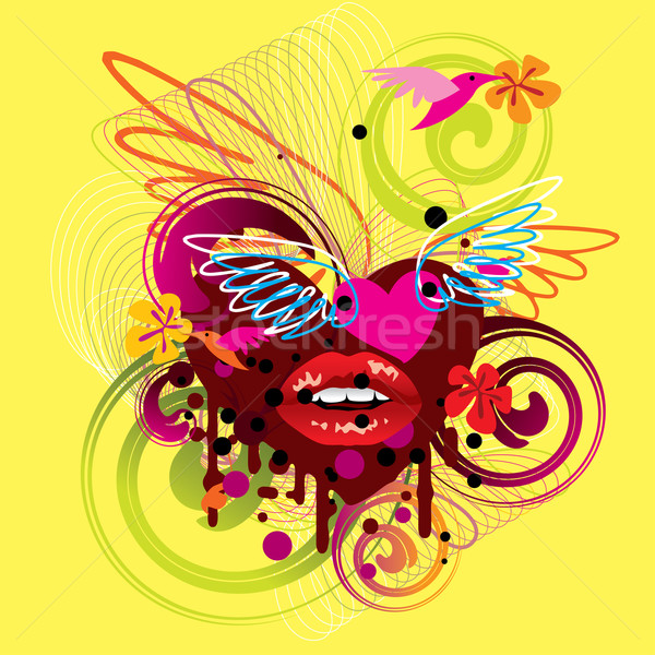 Lata wybuch ilustracja hot usta skrzydełka Zdjęcia stock © UltraPop
