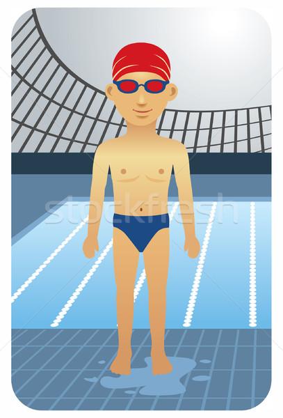 Zwemmer concurrerend illustratie afbeelding mijn sport Stockfoto © UltraPop