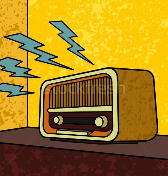 Vintage радио Поп-арт иллюстрация музыку технологий Сток-фото © UltraPop
