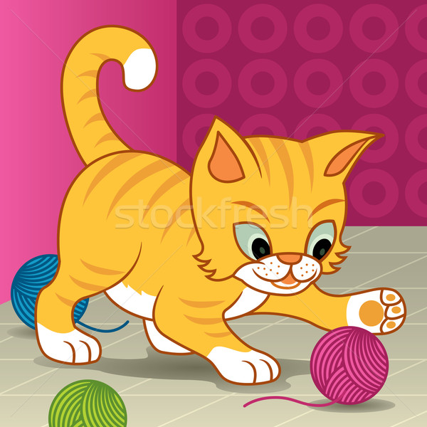 Feliz gato vector Cartoon ilustración pequeño Foto stock © UltraPop