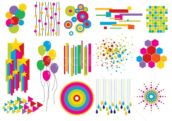 Parti elemanları ayarlamak doğum günü kartları Stok fotoğraf © UltraPop