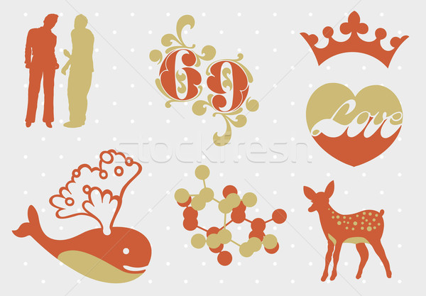 Gráfico elementos abstrato conjunto amor silhueta Foto stock © UltraPop