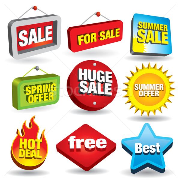 Satış işaretleri ayarlamak 3D fiyat Stok fotoğraf © UltraPop