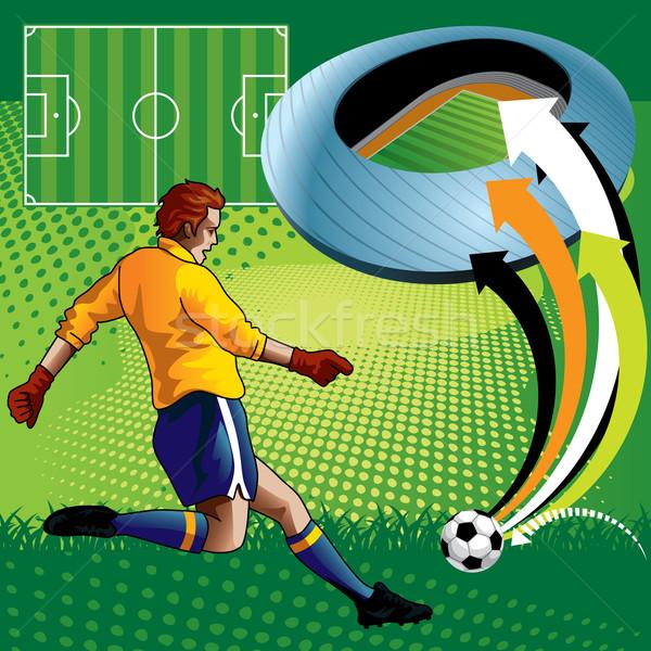 Futbolcu yaratıcı alan çim futbol spor Stok fotoğraf © UltraPop