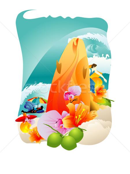 Yaz tatili güneşli plaj doğa yaz palmiye Stok fotoğraf © UltraPop