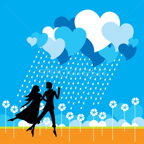 Seven çift dans bulut kalpler kadın Stok fotoğraf © UltraPop