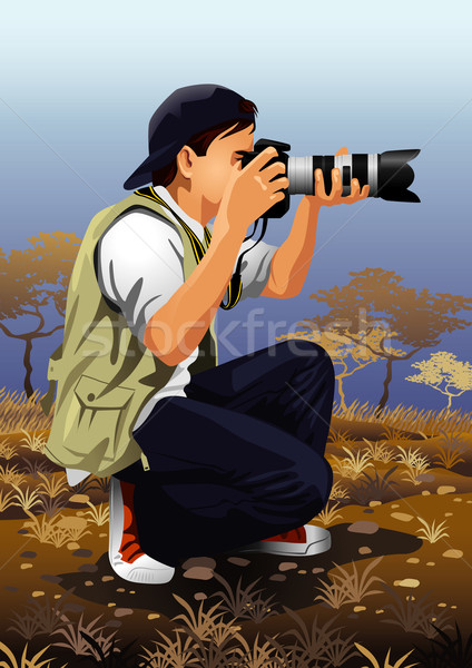 Fotógrafo trabalhando imagem meu profissão homem Foto stock © UltraPop