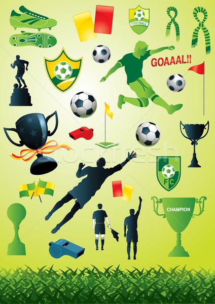 Futbol toplama vektör çok futbol tasarımlar Stok fotoğraf © UltraPop