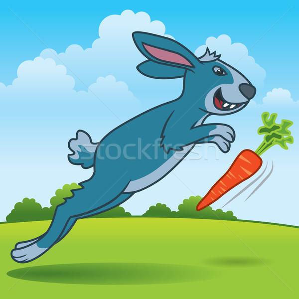Tavşan çalışma eğlence karikatür örnek havuç Stok fotoğraf © UltraPop