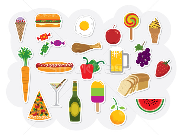 Alimentaire boire vecteur clipart ensemble boissons Photo stock © UltraPop