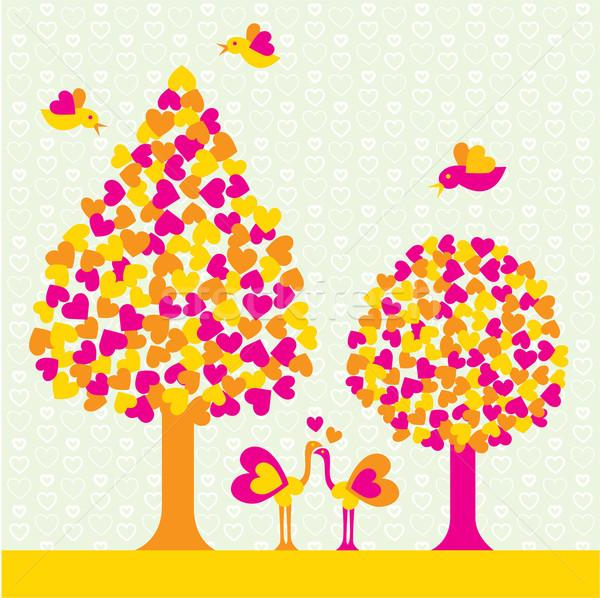 Doğa sevmek vektör sahne ağaç dizayn Stok fotoğraf © UltraPop