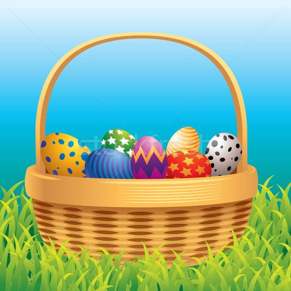 Easter eggs basket erba felice cioccolato verde Foto d'archivio © UltraPop