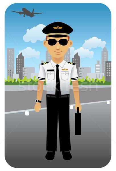 Piloot vliegmaatschappij luchthaven afbeelding mijn beroep Stockfoto © UltraPop