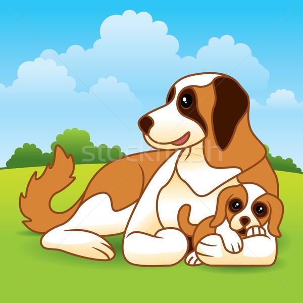 Puppy hond cute vector cartoon moeder Stockfoto © UltraPop