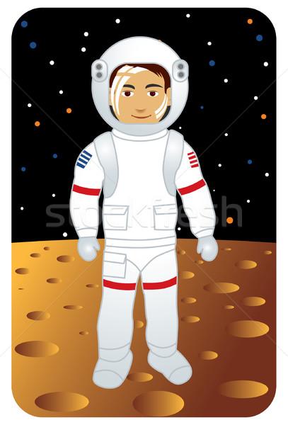 Astronot yürüyüş ay görüntü benim meslek Stok fotoğraf © UltraPop