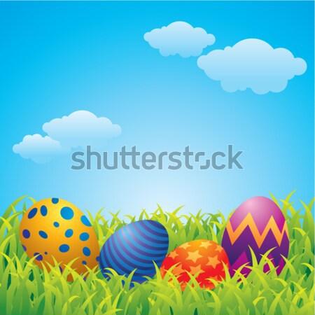 Pasen wenskaart eieren bunny wolken gelukkig Stockfoto © UltraPop