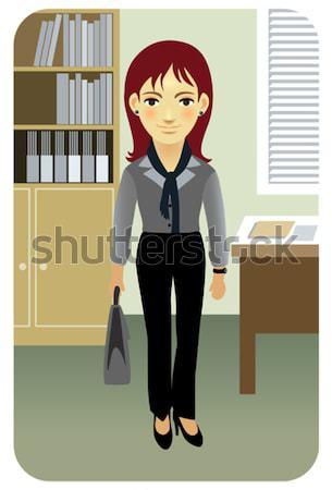 Zakenvrouw vergadering achter bureau afbeelding mijn Stockfoto © UltraPop