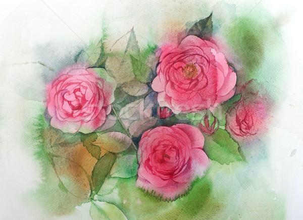Acquerello rose pittura bouquet fiori fiore Foto d'archivio © ultrapro