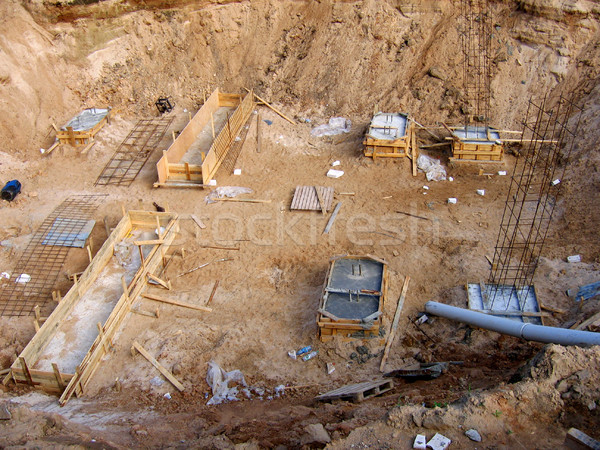 large pit and foundation with reinforcement Stock photo © ultrapro