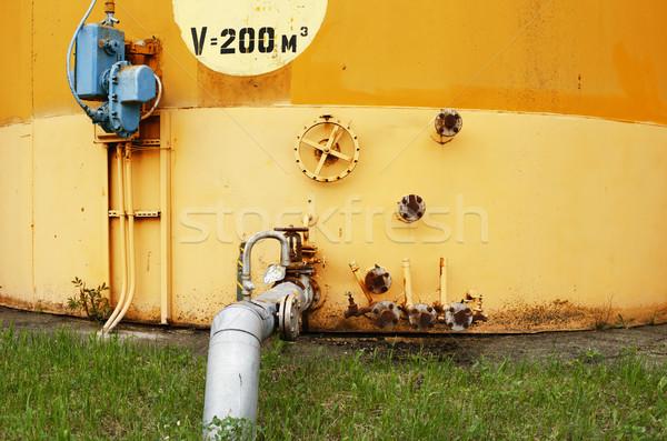 Oude Geel muur brandstof tank olie Stockfoto © ultrapro