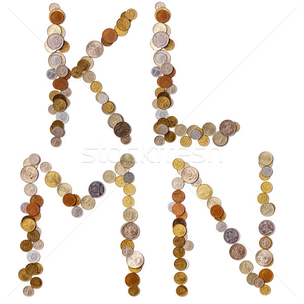Alfabeto cartas moedas diferente países carta Foto stock © ultrapro