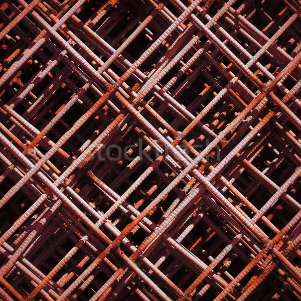 Stack of rusty rebar grids at the construction site Stock photo © ultrapro
