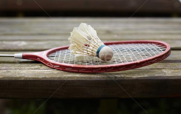 Badminton racket oude tabel houten tafel sport Stockfoto © ultrapro