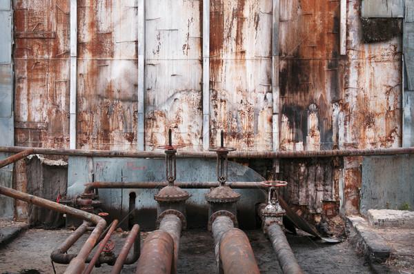 старые Трубы нефть заброшенный стены дизайна Сток-фото © ultrapro