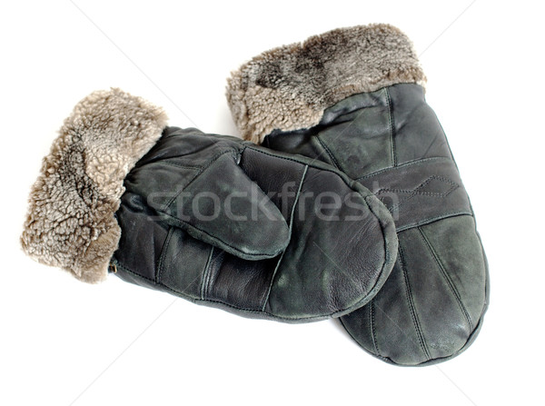 fur suede mittens on white background Stock photo © ultrapro