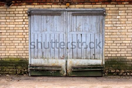 古い ガレージ ゲート レンガの壁 建物 木材 ストックフォト © ultrapro