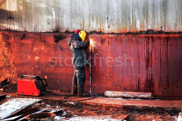 Werknemer muur staal brandstof tank groot Stockfoto © ultrapro