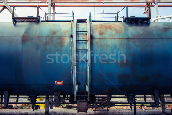 Railroad train of blue tanker cars  Stock photo © ultrapro