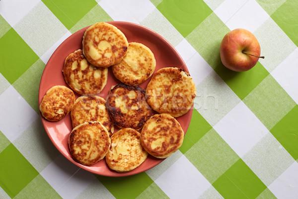 Cottage cheese pannenkoeken plaat tafelkleed eten Stockfoto © ultrapro