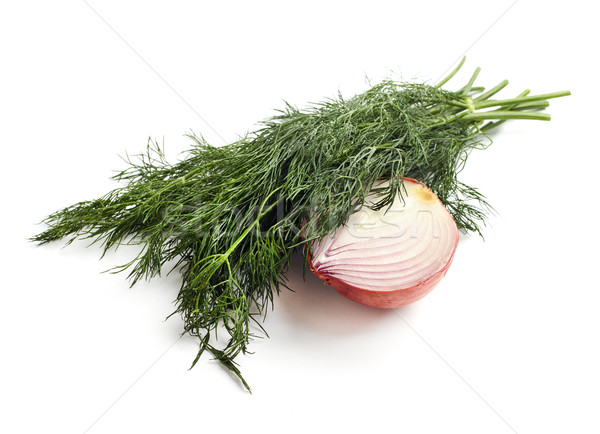 onions and dill isolated on white background Stock photo © ultrapro