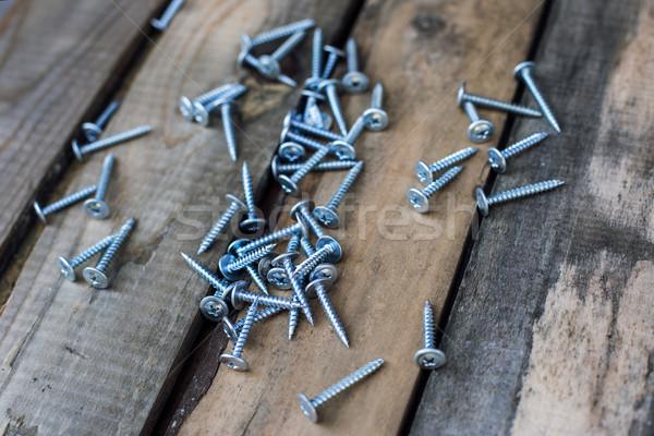 screws on old wooden desk Stock photo © ultrapro