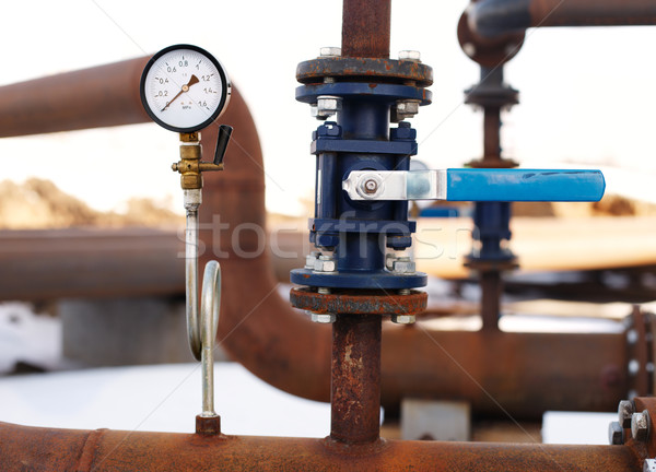 blue valve and manometer on rusty pipe Stock photo © ultrapro