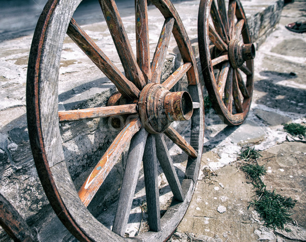 Old Wooden Cart Wheels Stock photo © ultrapro