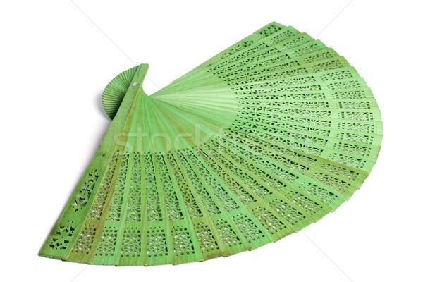 Zielone hiszpanski fan biały strony kobiet Zdjęcia stock © ultrapro