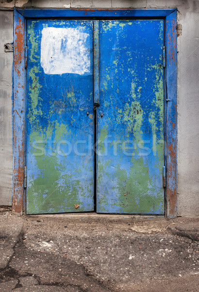 Vecchio blu porta intemperie Russia Foto d'archivio © ultrapro