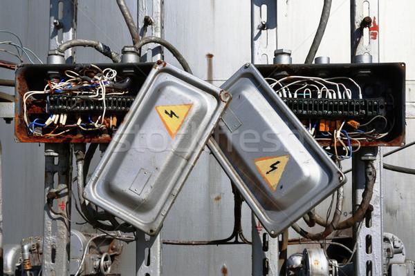 古い さびた 電気 トランス ボックス 線 ストックフォト © ultrapro