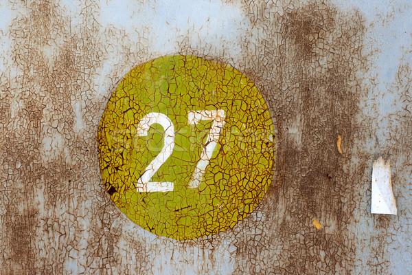 Números velho enferrujado metal parede rachado Foto stock © ultrapro