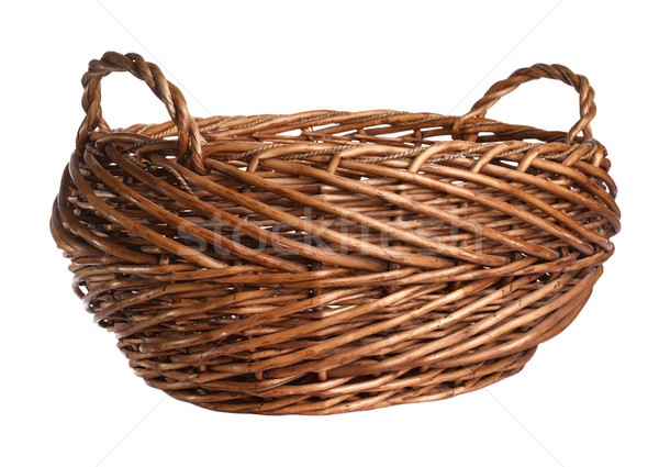 Empty wicker basket. Isolated over white Stock photo © ultrapro