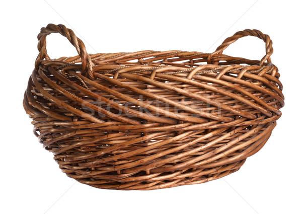Pusty wiklina koszyka odizolowany biały drewna Zdjęcia stock © ultrapro
