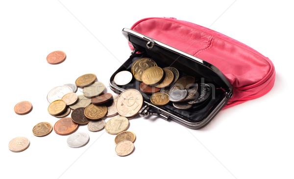 Rosa pelle borsa monete parecchi diverso Foto d'archivio © ultrapro