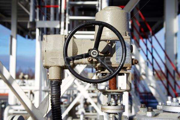 wheel of a large valve at a chemical plant Stock photo © ultrapro